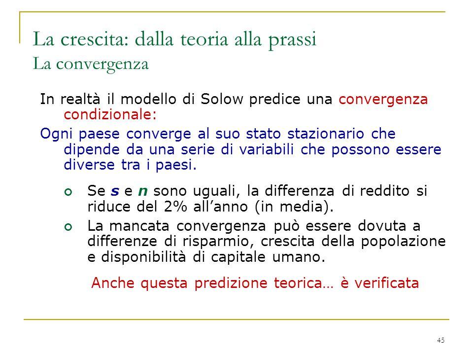 45 In realtà il modello di Solow predice una convergenza condizionale: Ogni paese converge al suo stato stazionario che dipende da una serie di variab