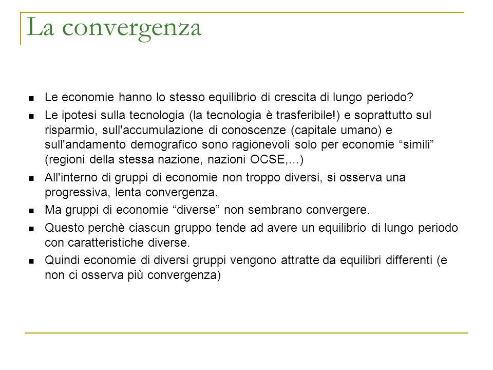 La convergenza Le economie hanno lo stesso equilibrio di crescita di lungo periodo? Le ipotesi sulla tecnologia (la tecnologia è trasferibile!) e sopr