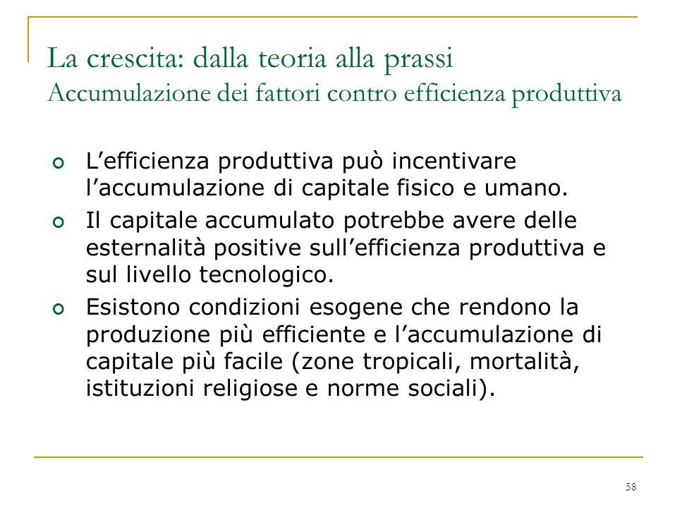 58 L'efficienza produttiva può incentivare l'accumulazione di capitale fisico e umano. Il capitale accumulato potrebbe avere delle esternalità positiv