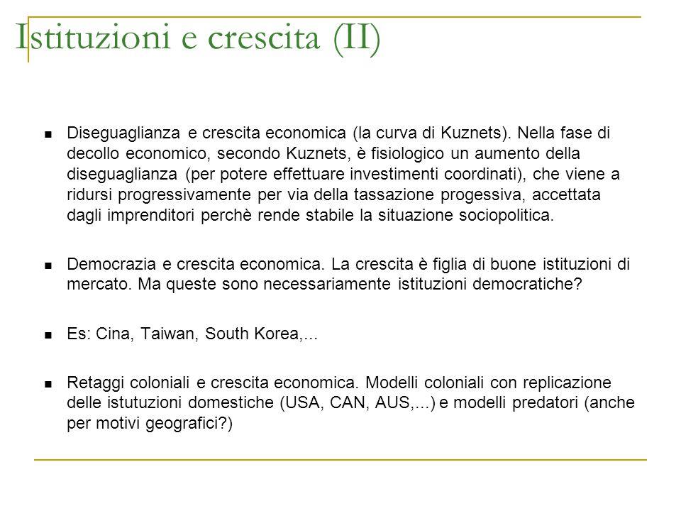 Istituzioni e crescita (II) Diseguaglianza e crescita economica (la curva di Kuznets). Nella fase di decollo economico, secondo Kuznets, è fisiologico