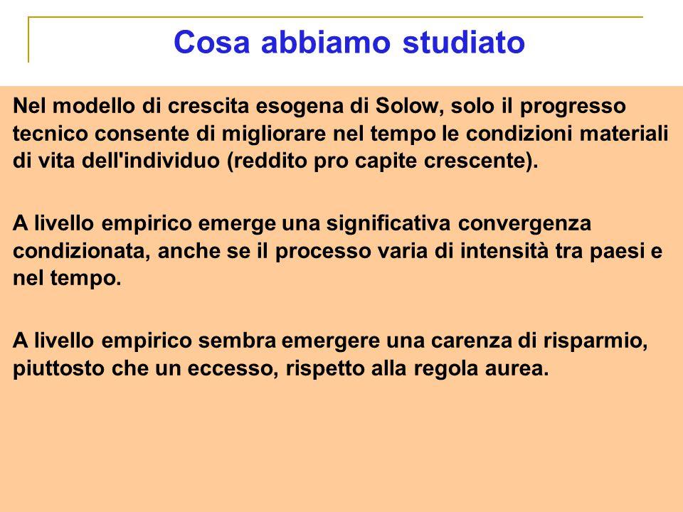 Nel modello di crescita esogena di Solow, solo il progresso tecnico consente di migliorare nel tempo le condizioni materiali di vita dell'individuo (r