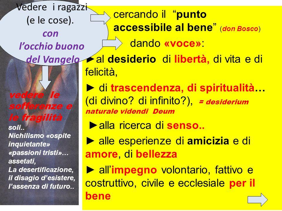 """cercando il """"punto accessibile al bene"""" (don Bosco) dando «voce»: ►al desiderio di libertà, di vita e di felicità, ► di trascendenza, di spiritualità…"""