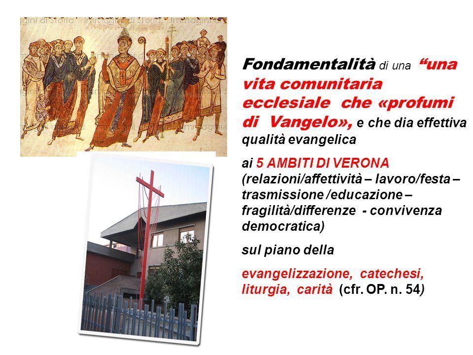 """Fondamentalità di una """"una vita comunitaria ecclesiale che «profumi di Vangelo», e che dia effettiva qualità evangelica ai 5 AMBITI DI VERONA (relazio"""