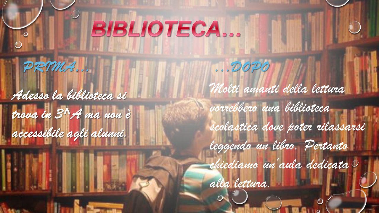 PRIMA…...DOPO Adesso la biblioteca si trova in 3^A ma non è accessibile agli alunni.