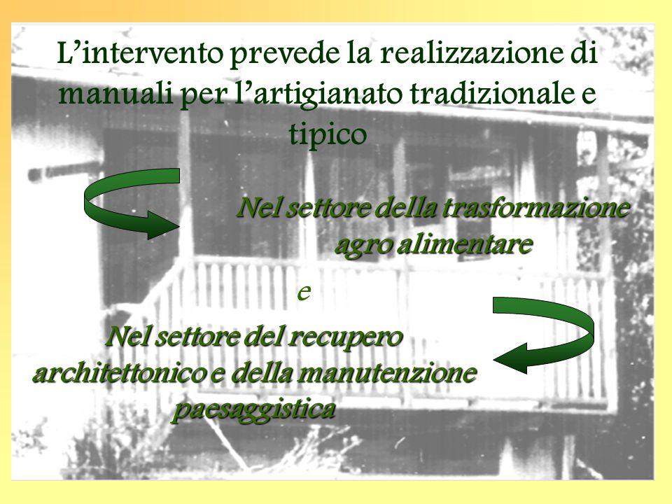 L'intervento prevede la realizzazione di manuali per l'artigianato tradizionale e tipico Nel settore della trasformazione agro alimentare Nel settoredel recupero architettonico e della manutenzione paesaggistica Nel settore del recupero architettonico e della manutenzione paesaggistica e