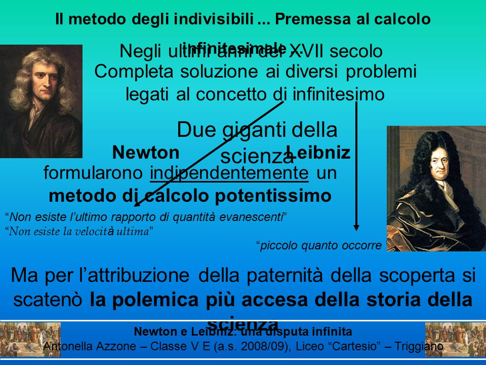 Negli ultimi anni del XVII secolo Il metodo degli indivisibili... Premessa al calcolo infinitesimale... Newton formularono indipendentemente un metodo