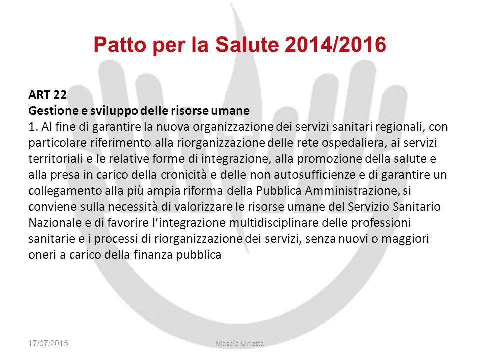 Patto per la Salute 2014/2016 ART 22 Gestione e sviluppo delle risorse umane 1. Al fine di garantire la nuova organizzazione dei servizi sanitari regi