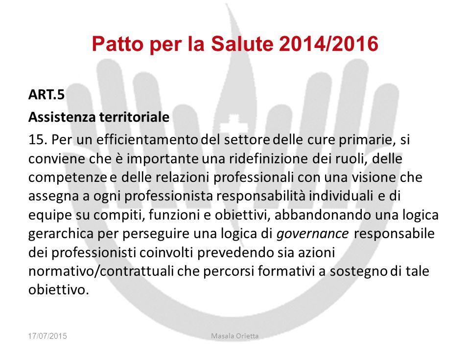 ART.5 Assistenza territoriale 15. Per un efficientamento del settore delle cure primarie, si conviene che è importante una ridefinizione dei ruoli, de