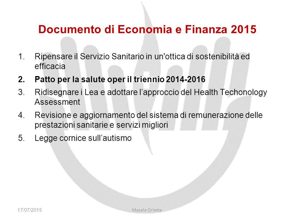 Documento di Economia e Finanza 2015 1.Ripensare il Servizio Sanitario in un'ottica di sostenibilità ed efficacia 2.Patto per la salute oper il trienn