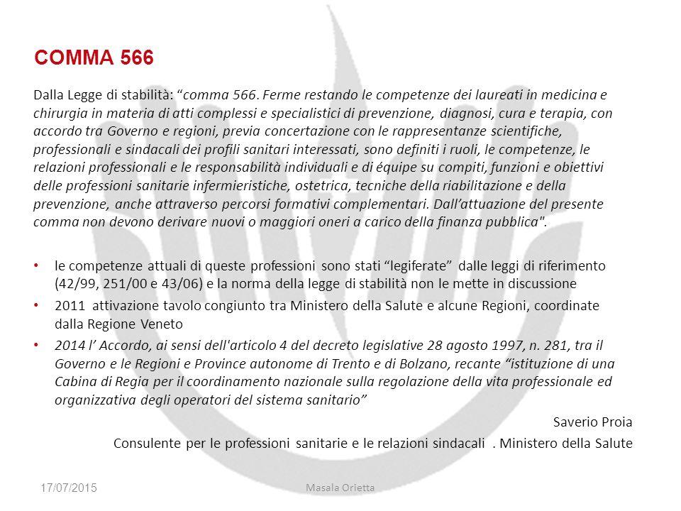 """Dalla Legge di stabilità: """"comma 566. Ferme restando le competenze dei laureati in medicina e chirurgia in materia di atti complessi e specialistici d"""