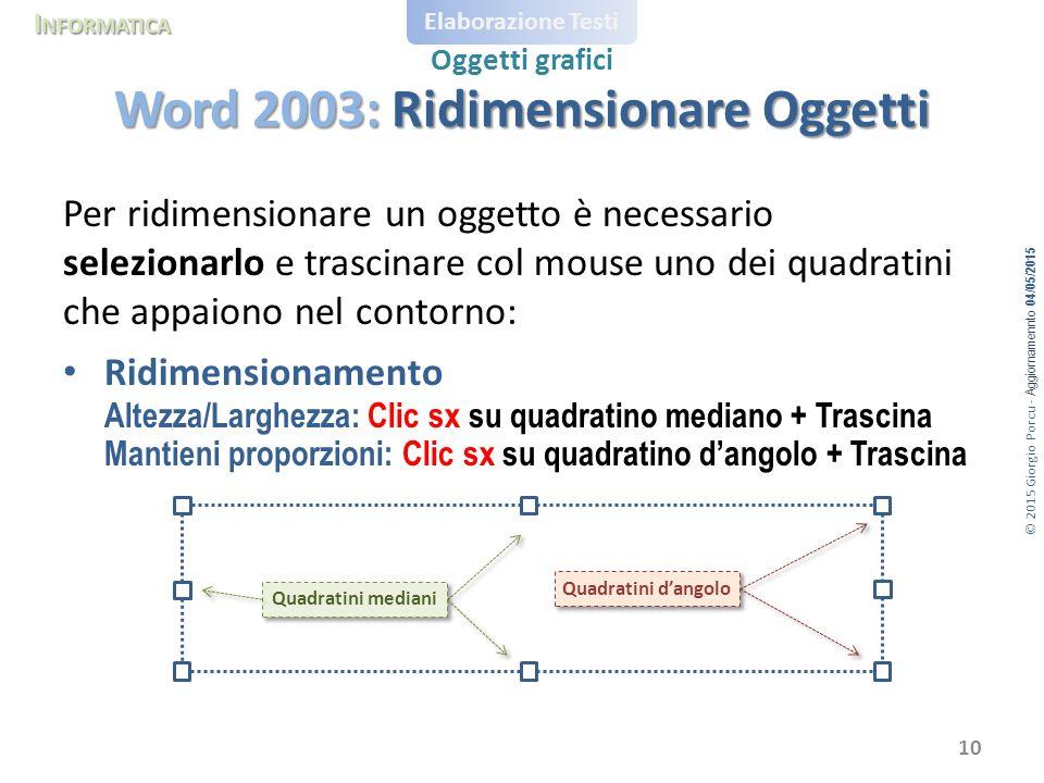 © 2015 Giorgio Porcu - Aggiornamennto 04/05/2015 I NFORMATICA Elaborazione Testi Oggetti grafici Per ridimensionare un oggetto è necessario selezionarlo e trascinare col mouse uno dei quadratini che appaiono nel contorno: Ridimensionamento Altezza/Larghezza: Clic sx su quadratino mediano + Trascina Mantieni proporzioni: Clic sx su quadratino d'angolo + Trascina Word 2003: Ridimensionare Oggetti 10 Quadratini d'angolo Quadratini mediani