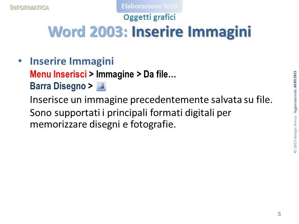 © 2015 Giorgio Porcu - Aggiornamennto 04/05/2015 I NFORMATICA Elaborazione Testi Oggetti grafici Inserire Immagini Menu Inserisci > Immagine > Da file