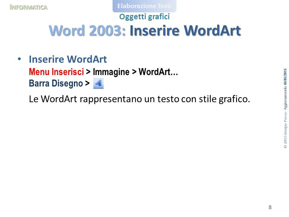 © 2015 Giorgio Porcu - Aggiornamennto 04/05/2015 I NFORMATICA Elaborazione Testi Oggetti grafici Inserire WordArt Menu Inserisci > Immagine > WordArt…