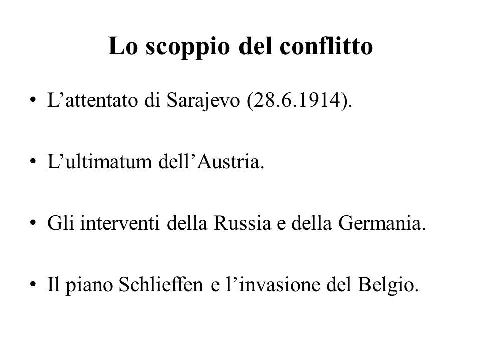 Lo scoppio del conflitto L'attentato di Sarajevo (28.6.1914).