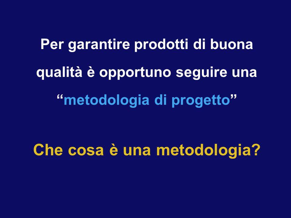 """Per garantire prodotti di buona qualità è opportuno seguire una """"metodologia di progetto"""" Che cosa è una metodologia?"""