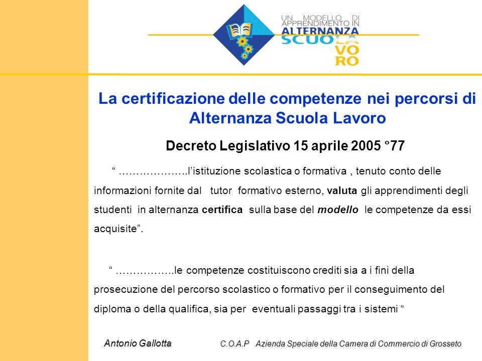 """La certificazione delle competenze nei percorsi di Alternanza Scuola Lavoro Decreto Legislativo 15 aprile 2005 °77 """" ………………..l'istituzione scolastica"""