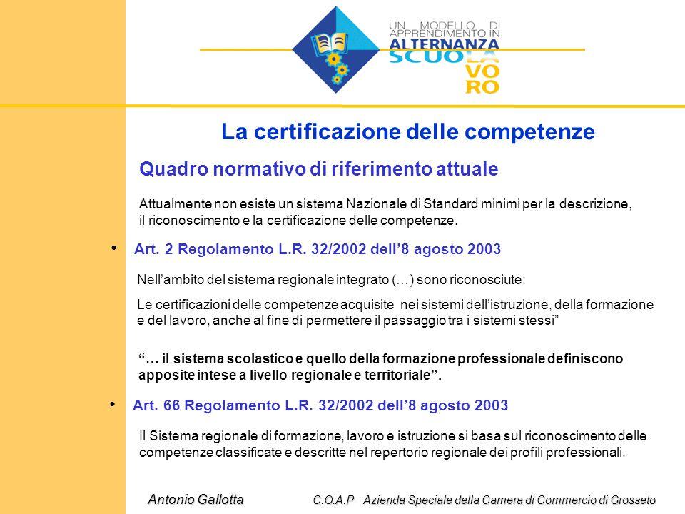 La certificazione delle competenze Quadro normativo di riferimento attuale Art. 2 Regolamento L.R. 32/2002 dell'8 agosto 2003 Attualmente non esiste u
