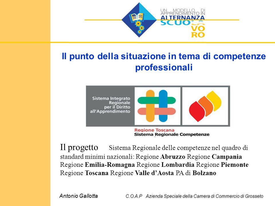 Il punto della situazione in tema di competenze professionali Antonio Gallotta C.O.A.P Azienda Speciale della Camera di Commercio di Grosseto Il proge