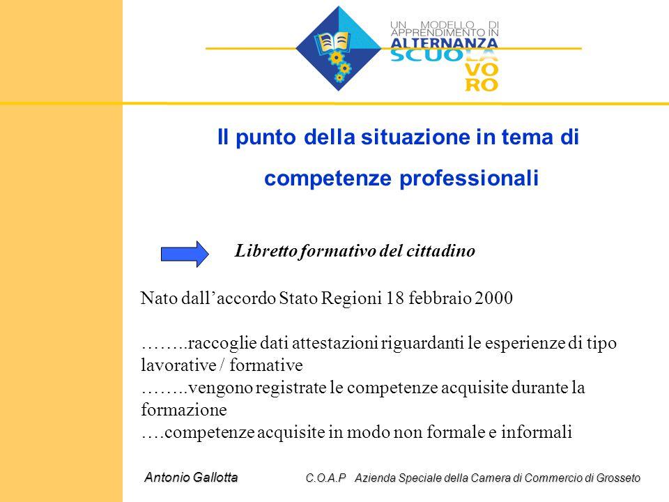 Il punto della situazione in tema di competenze professionali Antonio Gallotta C.O.A.P Azienda Speciale della Camera di Commercio di Grosseto Libretto
