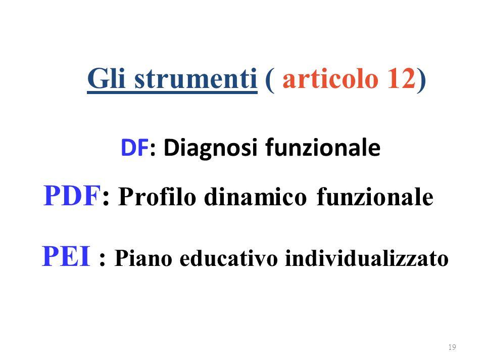 DF: Diagnosi funzionale 19 Gli strumenti ( articolo 12) PDF: Profilo dinamico funzionale PEI : Piano educativo individualizzato