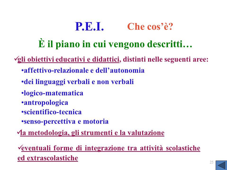 25 P.E.I. Che cos'è? gli obiettivi educativi e didattici, distinti nelle seguenti aree: la metodologia, gli strumenti e la valutazione eventuali forme