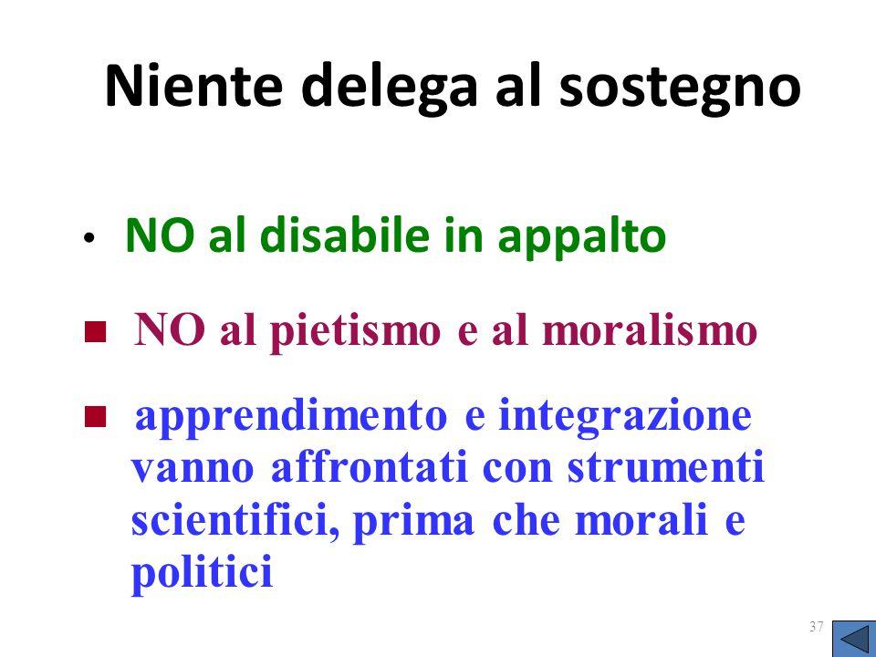 Niente delega al sostegno NO al disabile in appalto 37 NO al pietismo e al moralismo apprendimento e integrazione vanno affrontati con strumenti scien