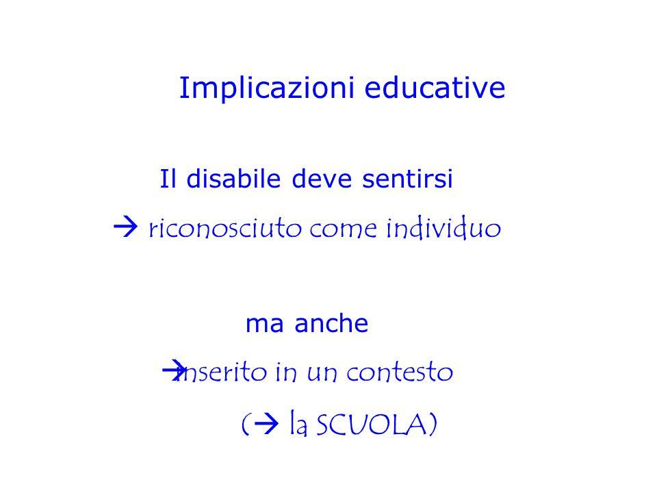 Implicazioni educative Il disabile deve sentirsi  riconosciuto come individuo ma anche  inserito in un contesto (  la SCUOLA)