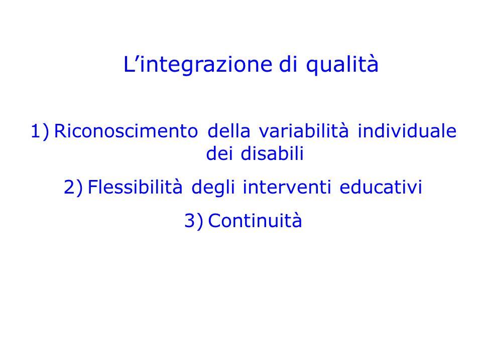 L'integrazione di qualità 1)Riconoscimento della variabilità individuale dei disabili 2)Flessibilità degli interventi educativi 3)Continuità