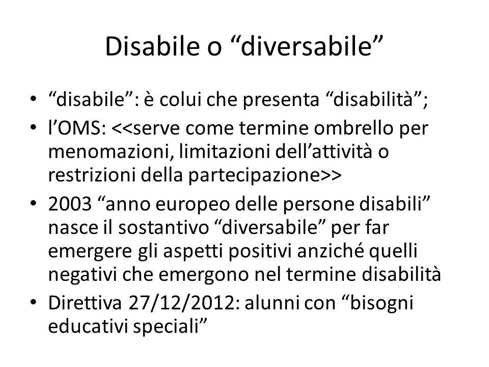 """Disabile o """"diversabile"""" """"disabile"""": è colui che presenta """"disabilità""""; l'OMS: > 2003 """"anno europeo delle persone disabili"""" nasce il sostantivo """"diver"""