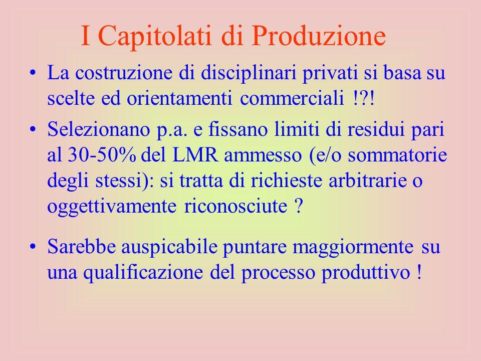 La costruzione di disciplinari privati si basa su scelte ed orientamenti commerciali !?.