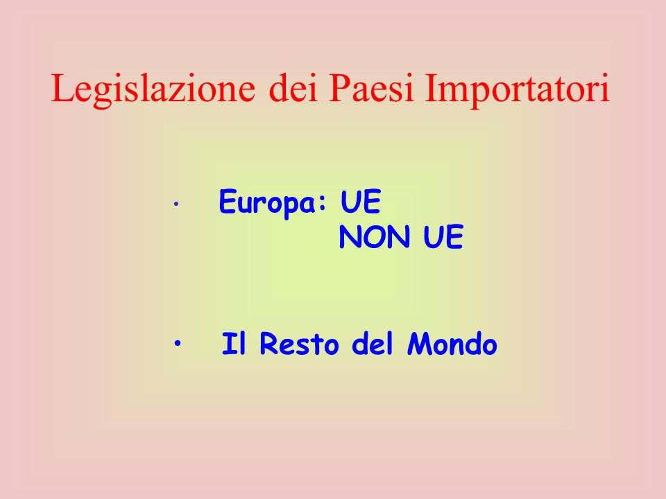 Europa: UE NON UE Il Resto del Mondo Legislazione dei Paesi Importatori