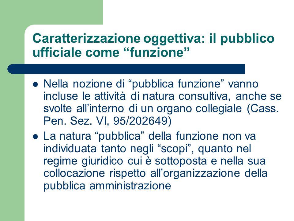 Caratterizzazione oggettiva: il pubblico ufficiale come funzione Nella nozione di pubblica funzione vanno incluse le attività di natura consultiva, anche se svolte all'interno di un organo collegiale (Cass.