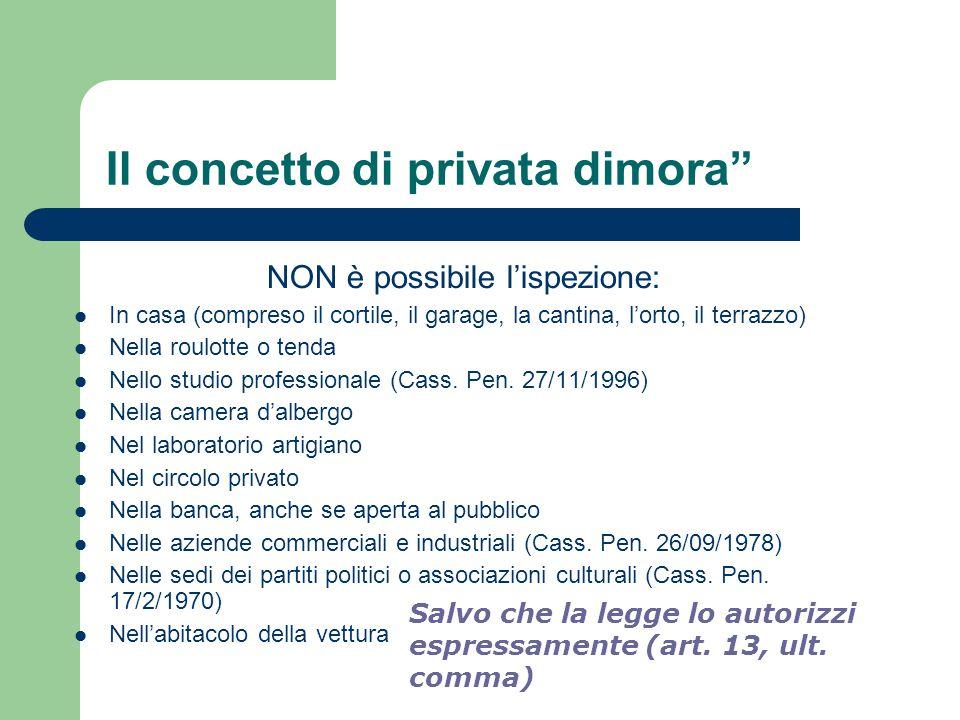 """Il concetto di privata dimora"""" NON è possibile l'ispezione: In casa (compreso il cortile, il garage, la cantina, l'orto, il terrazzo) Nella roulotte o"""