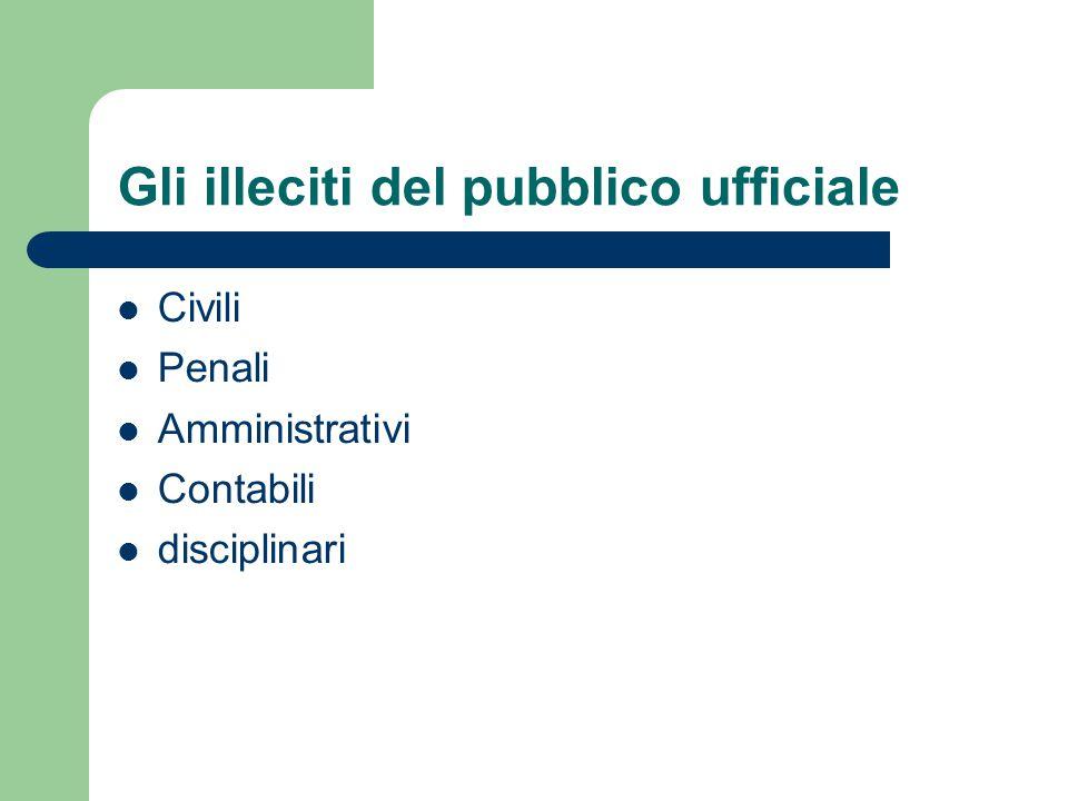 Gli illeciti del pubblico ufficiale Civili Penali Amministrativi Contabili disciplinari