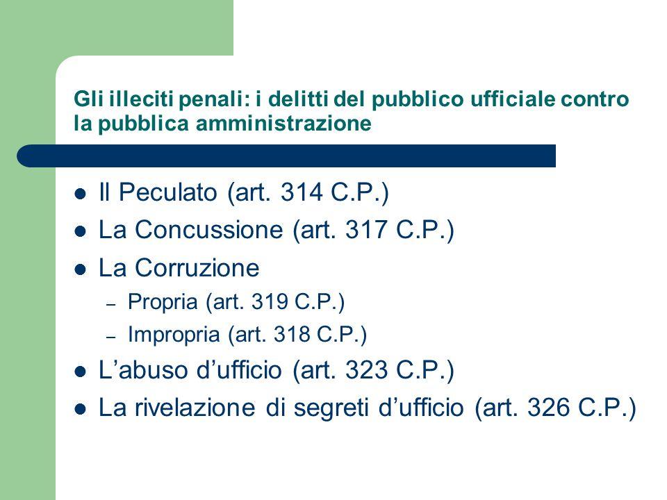 Gli illeciti penali: i delitti del pubblico ufficiale contro la pubblica amministrazione Il Peculato (art. 314 C.P.) La Concussione (art. 317 C.P.) La
