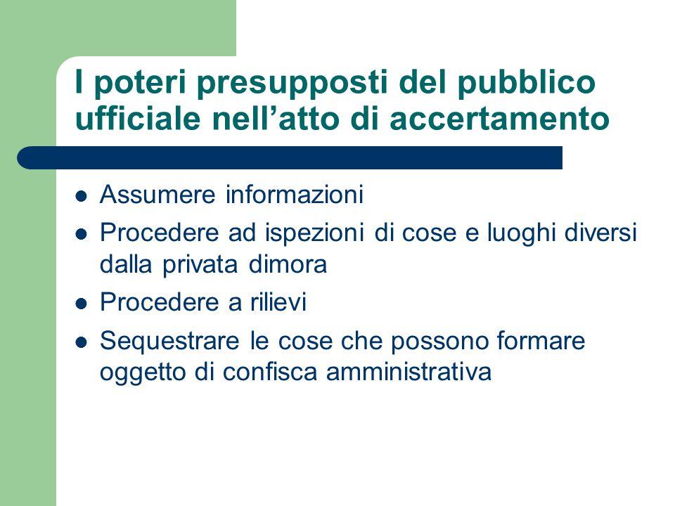 I poteri presupposti del pubblico ufficiale nell'atto di accertamento Assumere informazioni Procedere ad ispezioni di cose e luoghi diversi dalla priv