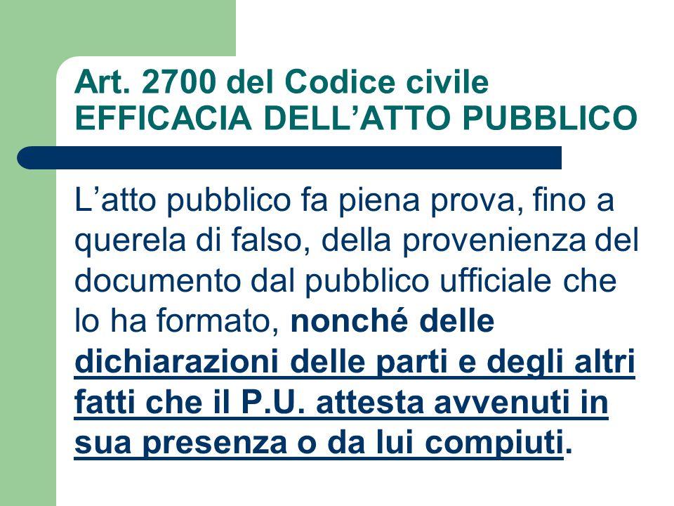 Art. 2700 del Codice civile EFFICACIA DELL'ATTO PUBBLICO L'atto pubblico fa piena prova, fino a querela di falso, della provenienza del documento dal