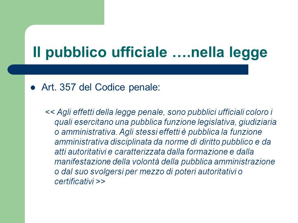 Il pubblico ufficiale ….nella legge Art. 357 del Codice penale: >