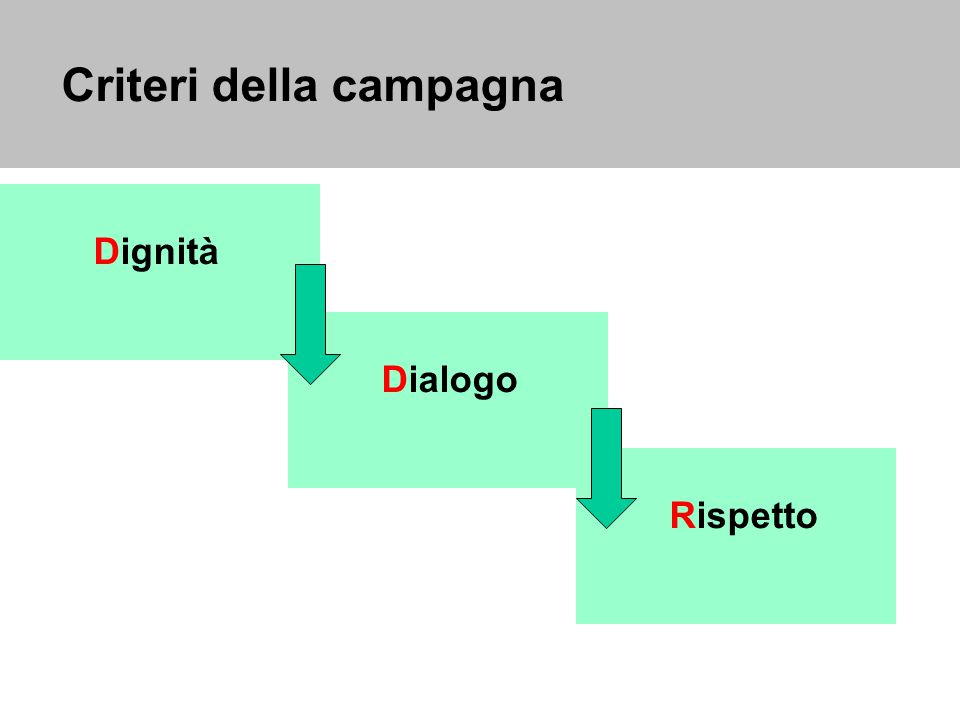 Criteri della campagna Dignità Dialogo Rispetto