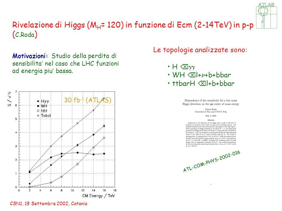 CSN1, 19 Settembre 2002, Catania Rivelazione di Higgs (M H = 120) in funzione di Ecm (2-14TeV) in p-p ( C.Roda ) Motivazioni: Studio della perdita di sensibilita' nel caso che LHC funzioni ad energia piu' bassa.