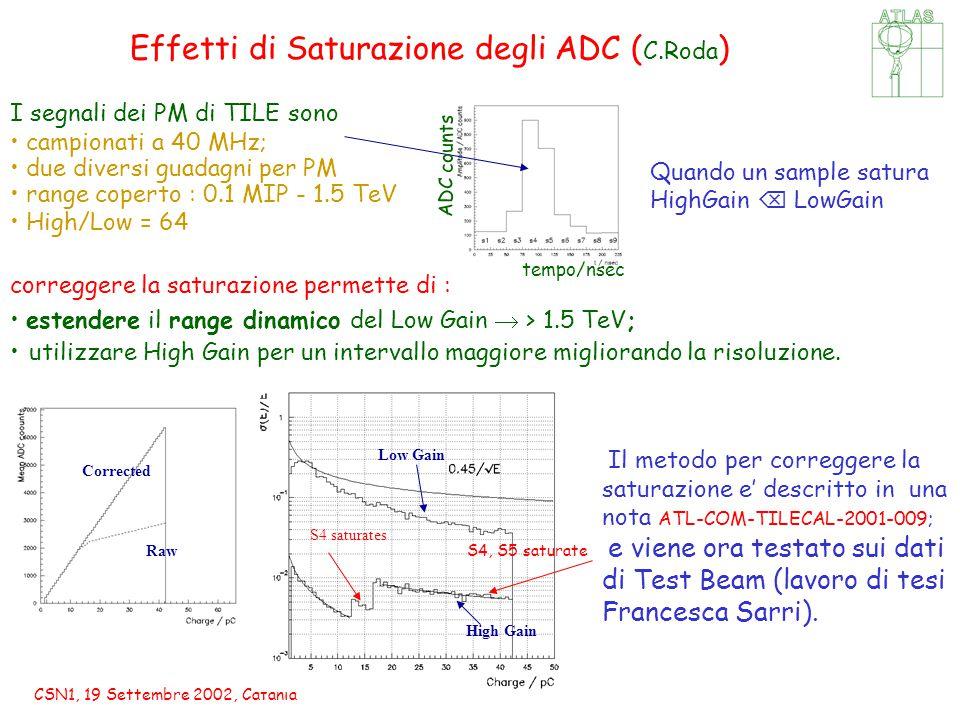 CSN1, 19 Settembre 2002, Catania Effetti di Saturazione degli ADC ( C.Roda ) S4 saturates S4, S5 saturate I segnali dei PM di TILE sono campionati a 40 MHz; due diversi guadagni per PM range coperto : 0.1 MIP - 1.5 TeV High/Low = 64 correggere la saturazione permette di : estendere il range dinamico del Low Gain  > 1.5 TeV; utilizzare High Gain per un intervallo maggiore migliorando la risoluzione.