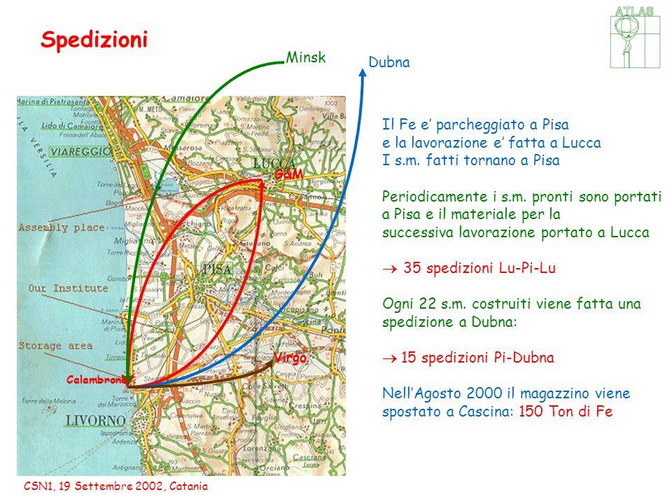 CSN1, 19 Settembre 2002, Catania Spedizioni Virgo Calambrone G&M Dubna Minsk Il Fe e' parcheggiato a Pisa e la lavorazione e' fatta a Lucca I s.m.