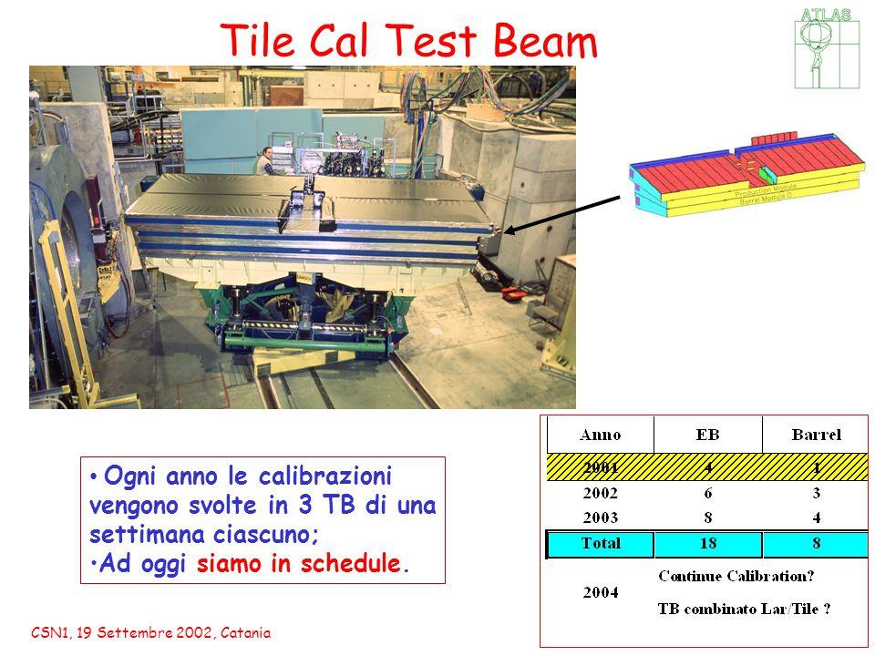 CSN1, 19 Settembre 2002, Catania Ogni anno le calibrazioni vengono svolte in 3 TB di una settimana ciascuno; Ad oggi siamo in schedule.