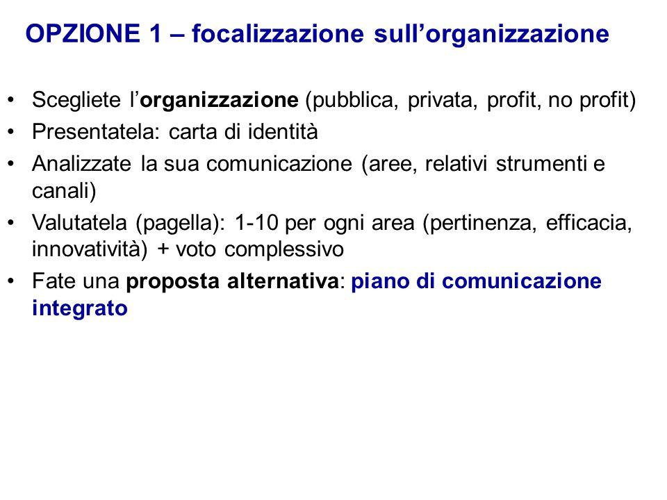 Scegliete l'organizzazione (pubblica, privata, profit, no profit) Presentatela: carta di identità Analizzate la sua comunicazione (aree, relativi stru