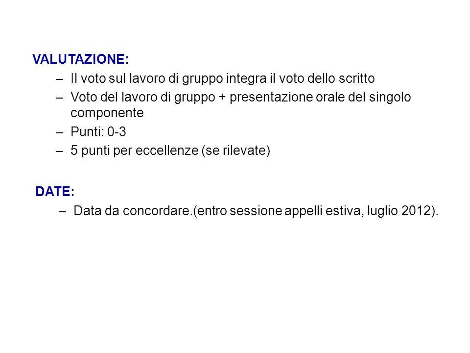 VALUTAZIONE: –Il voto sul lavoro di gruppo integra il voto dello scritto –Voto del lavoro di gruppo + presentazione orale del singolo componente –Punt