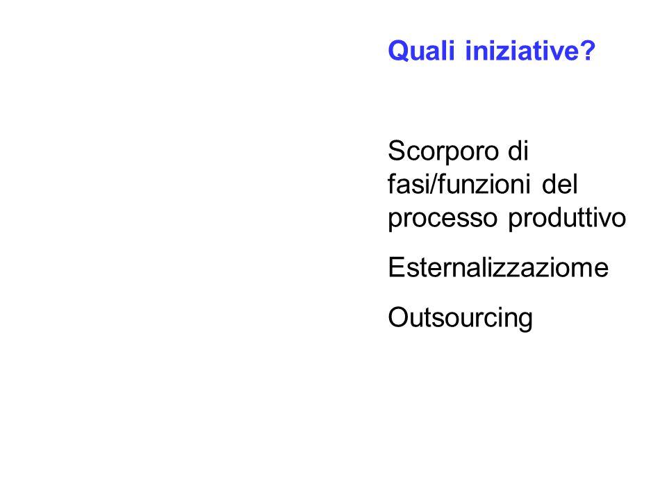 Quali iniziative? Scorporo di fasi/funzioni del processo produttivo Esternalizzaziome Outsourcing