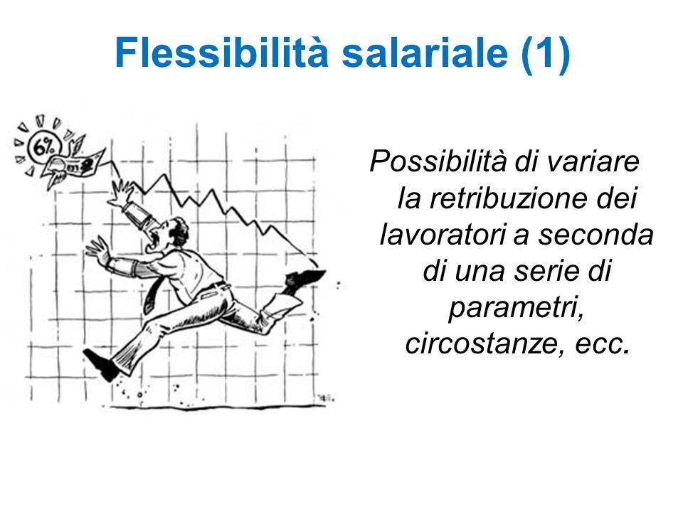 Flessibilità salariale (1) Possibilità di variare la retribuzione dei lavoratori a seconda di una serie di parametri, circostanze, ecc.
