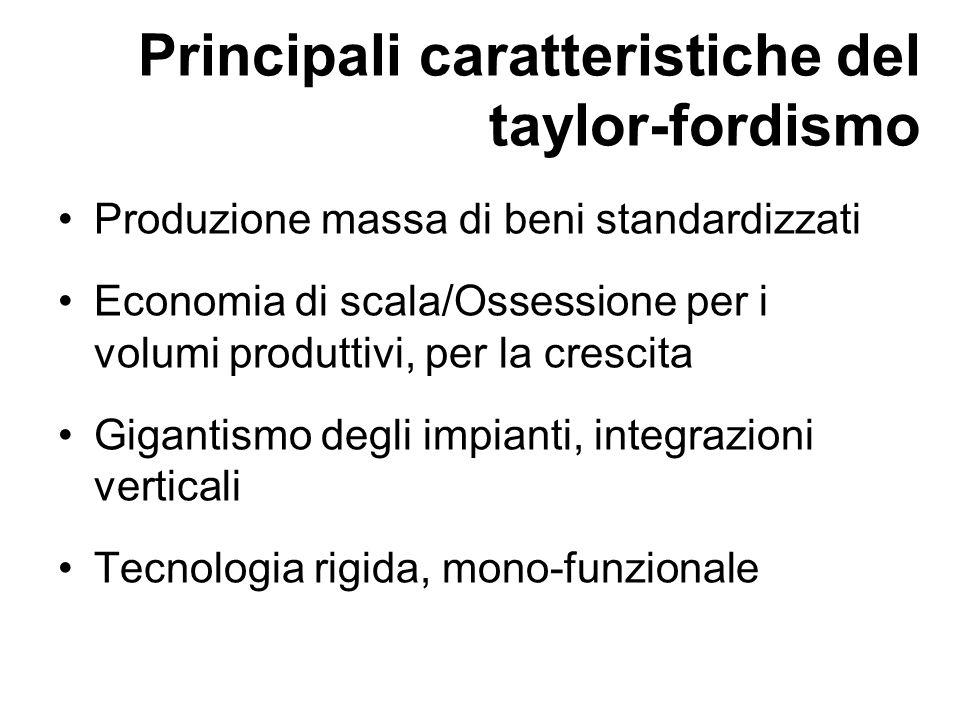 Principali caratteristiche del taylor-fordismo Produzione massa di beni standardizzati Economia di scala/Ossessione per i volumi produttivi, per la cr