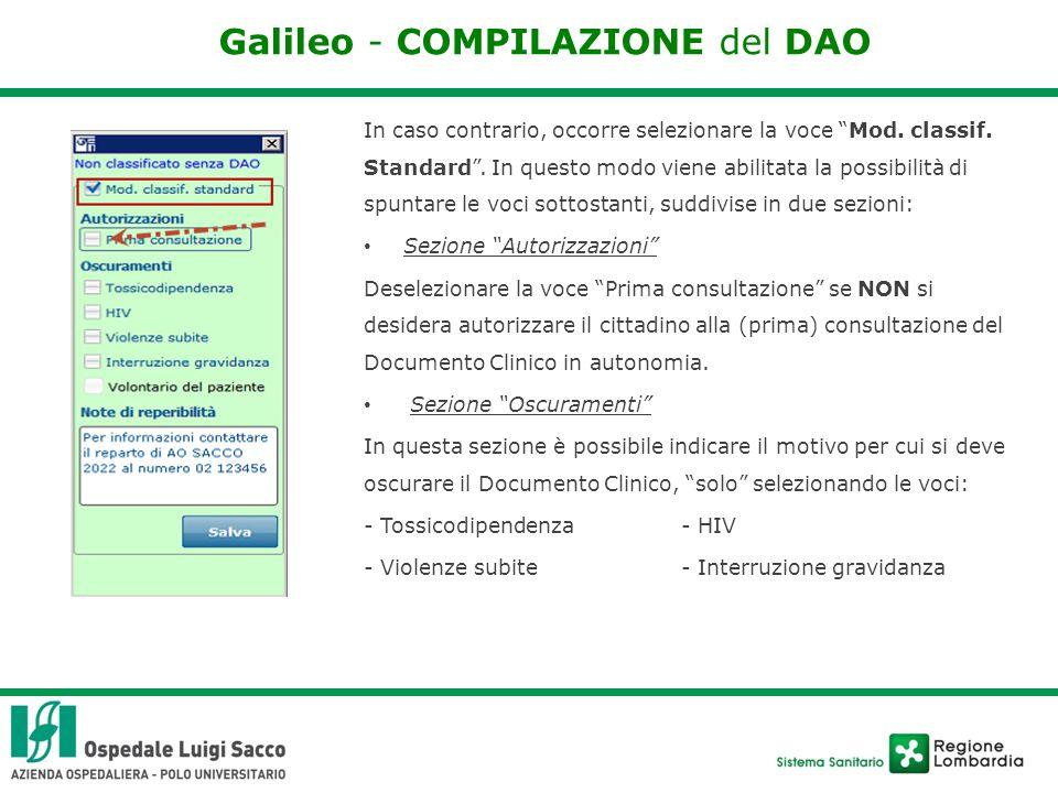 Galileo - COMPILAZIONE del DAO In caso contrario, occorre selezionare la voce Mod.