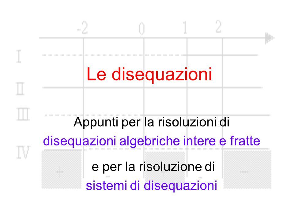 Le disequazioni Appunti per la risoluzioni di disequazioni algebriche intere e fratte e per la risoluzione di sistemi di disequazioni